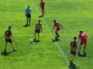 Un lance del partido disputado en el Ciudad de Lepe.