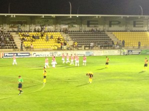 El Cádiz celebra uno de los goles en el Ciudad de Lepe.