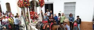 La carreta del Simpecado de San José ante el Ayto de Trigueros